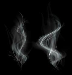 Gray smoke isolated on black background vector image