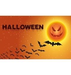 Halloween background with flying bats over moon vector