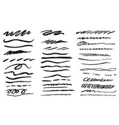 handwritten grunge pencil line icon set on white vector image