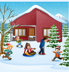 Happy kid plaiyng in the snowing village vector
