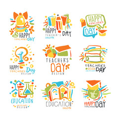 happy teachers day labels set logo graphic vector image