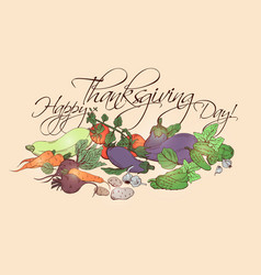happy thanksgiving day horizontal poster with vector image