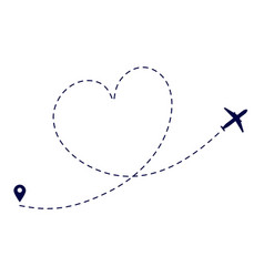 heart plane route love plane path airplane vector image