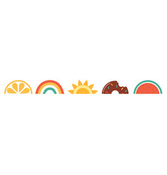hello summer banner design with watermelon sun vector image