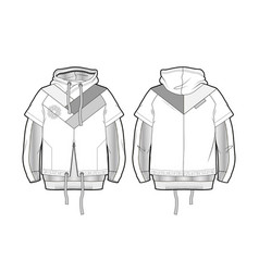 Hooded sports jacket with contrast details vector
