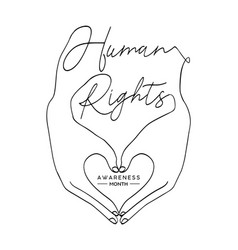 Human rights concept man hands create love heart vector