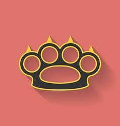 Icon brass knuckles or knuckle duster flat vector