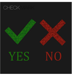 icon yes and no green check mark and red wrong vector image