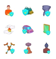 Incident icons set cartoon style vector