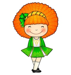 Irish dancing girl in green traditional dress vector image