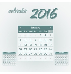 January 2016 vector image