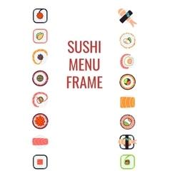 Japanese food sushi menu frame vector image