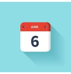 June 6 Isometric Calendar Icon With Shadow vector