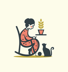 Knitting woman with cat vector