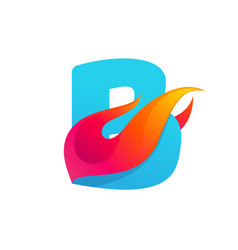 Letter b logo with fast speed fire vector
