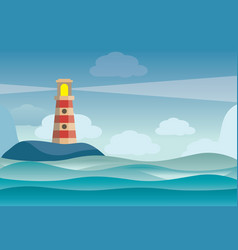 lighthouse on rock stones island landscape vector image