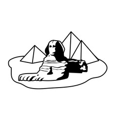 Line famous giza egypt sculpture pyramids vector