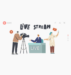 Live stream news landing page template vector