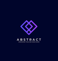 Logo abstract square line shape colorful style vector