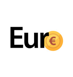 logo with phrase - euro and golden coin vector image