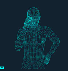 Man in a thinker pose 3d model of man geometric vector