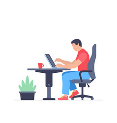 Man is working at his laptop vector