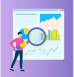 Man with infographics on board and zooming glass vector