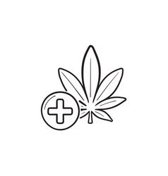 medical marijuana hand drawn outline doodle icon vector image