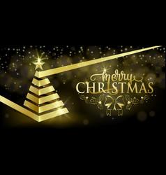 merry christmas fancy luxury gold ribbon xmas tree vector image