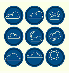 Meteorogical icon set clouds sun moon outlines vector