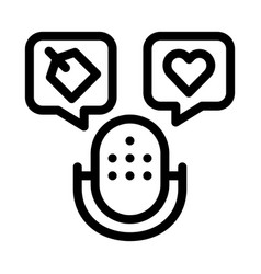 Microphone label icon outline vector
