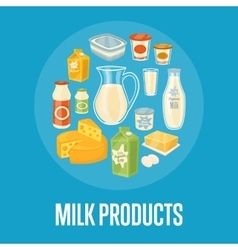 Milk products banner with dairy composition vector image vector image
