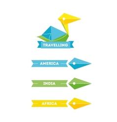 modern bright creative travel company bird logo vector image