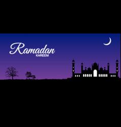 Night mosque silhouette with trees ramadan kareem vector