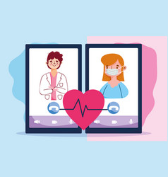 Online doctor physician and patient consultation vector