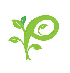 p letter ecology nature element icon vector image