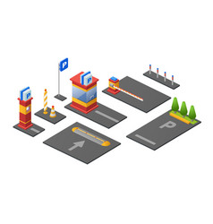 Parking lot isometric 3d of vector
