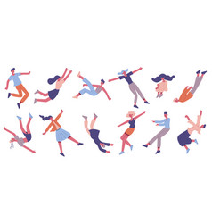 people floating in air flying male and female vector image