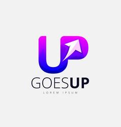 Purple up arrow trendy logo design vector