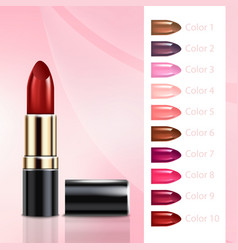 realistic lipstick tube with color variation set vector image