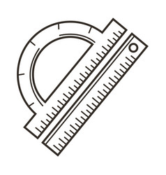 ruler and protractor school stationery items vector image