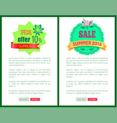 Seasonal discount sale labels tropical web vector
