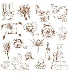 set beautiful wedding hand drawn elements vector image