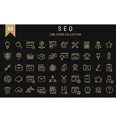 Set Flat Line Icons SEO vector image