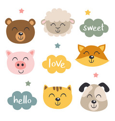 Set isolated baby animals faces and clouds vector