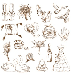 Set of beautiful wedding hand drawn elements vector