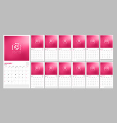 Set of calendar pages for 2017 year with place vector