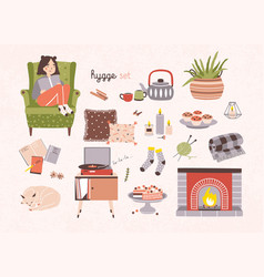 Set of hygge attributes furniture and home vector