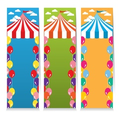 Set Of Three Colorful Circus Theme Vertical Banner vector