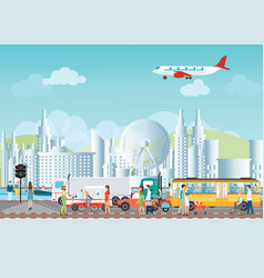 set of transportation logistic and city traffic vector image